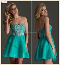 Mint Green Strapless Sexy Sweetheart Neckline Beaded Chiffon Short Puffy Homecoming Dresses