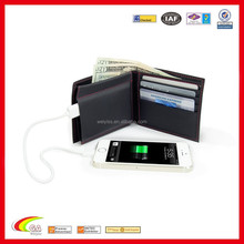 2015 hot new products unique leather black charging wallet for smartphone