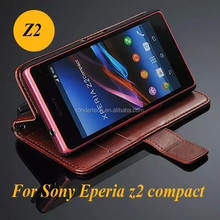 Luxury Vintage Retro Flip Leather Case For Sony Xperia Z2 compact mini Wallet Stand Support Card Holder With Strap Phone Cover