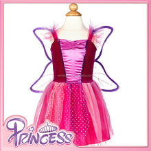 FD-8182 2015 New Arrival Top Quality Pink Color Girls Fashion Dress with Wing Kids Party Fairy Dress