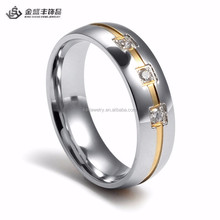 Wedding Jewelry Gold Plated Stainless Steel Love Ring new model wedding ring with 3 cz stone