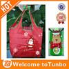 Red bags santa claus printed reusable reindeer key chain folding shopping bag