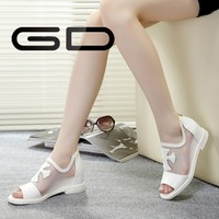 2015 Latest genuine leather classic shiny white elegant ladies flat sandals
