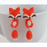 Fashion Hot Cartoon Lovely Orange Fox Polymer Clay earrings for Women