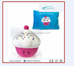 Plush material and cupcake shaped baby educational pillow toy