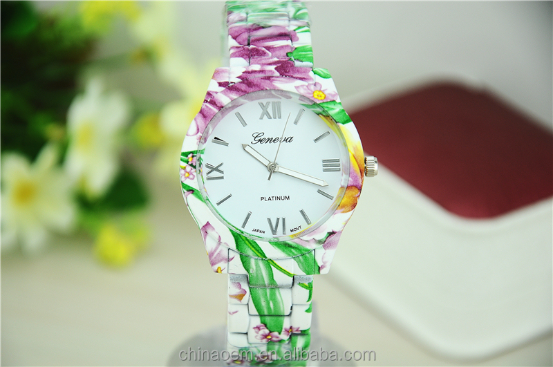 2014 Fashion Geneva Floral Watch of Flower Printed Geneva Watch for Ladies Casual Wristwatches Quartz Watch for Women Wholesale