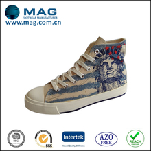 American style printed canvas shoes high cut cheap canvas shoes