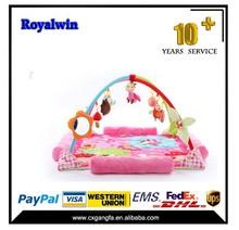 Plush baby play gym mat,electronic musical baby play mat with rattles,baby play mat