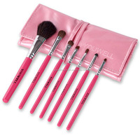 7pcs weasel hair rose-red makeup brush eyebrow/lipstick makeup brush set with brush holder