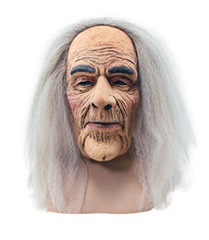 Latex full face mask old man with wig Halloween party mask(HM-113)