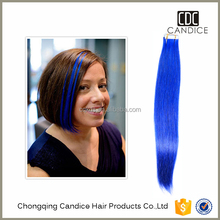 Candice #61c gorgeous blue remy human hair tape extension skin weft