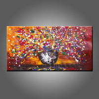 Wholesale Low Price Hand Painted Abstract Vase Flower Oil Painting On Canvas Unique Flowers Painting For Kitchen