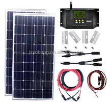 2X100 Watt Solar Panel kit for RV Cravan Motorhome Boat Kit with Charge Controller+Cable+Connector+Mounting Bracket