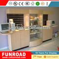 OEM / ODM de madera / muebles de acrílico pantalla del contador pantalla atractivo y moderno mostrador de cristal