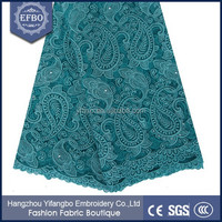 Best selling net lace materials fashion nigeria guipure lace / 120-130 cm african swiss green lace with rhinestones and beads