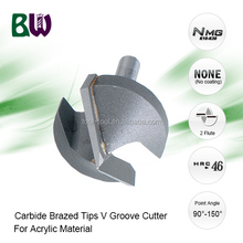 Tungsten Carbide Brazed Tips V Groove Cutter For Acrylic Material