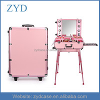 Professional Custom Aluminium Lighted Makeup Train Case With Mirror ZYD-HZMmlc005