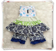 2015 giggle moon remake outfits new style of children summer clothes boutique shorts set blue and white porcelain color