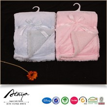 2015 wholesale 100%polyester handmade soft thick warm micromink sherpa back baby blanket