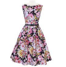 alibaba china bestdress Women 50s Retro Flower Print Rockabilly Party Ball Gown Pleated Swing Vest Dress S-2XL vestidos