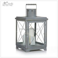 Custom decorative metal wooden candle lantern