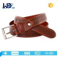 2015 Cow hide brown color mens debossed leather belt