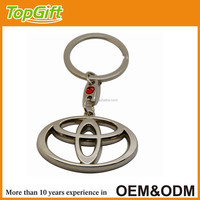 Metal car logo keychain with toyota sign for car brand promotion