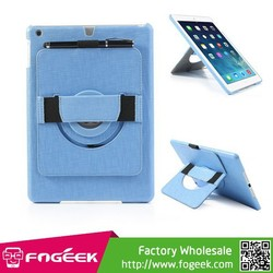 Leather Coated Hard Cover w/ 360 Degree Rotary Stand & Hand Strap for iPad Air