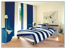 Blue and white stripes printed bedding set& bed cover set&bedding sheet set