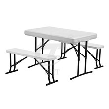 Plastic Camp Table with Folding Bench Seats