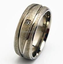 solitaire titanium wedding ring matt surface CZ man titanium ring stardust engagement titanium ring