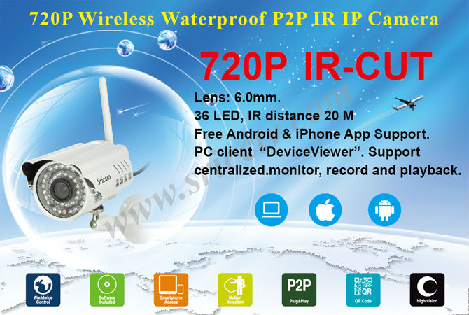 Two Year Warranty Sricam AP009 Hot Sale Waterproof IR CUT Night Vision P2P Outdoor IP Camera Wireless Wifi Outdoor IP Camera