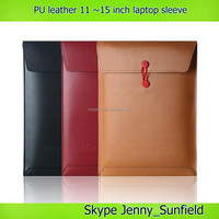11 13 15 inch leather laptop sleeve for macbook pro air , pu leather laptop bag 15 inch 13 11 inch