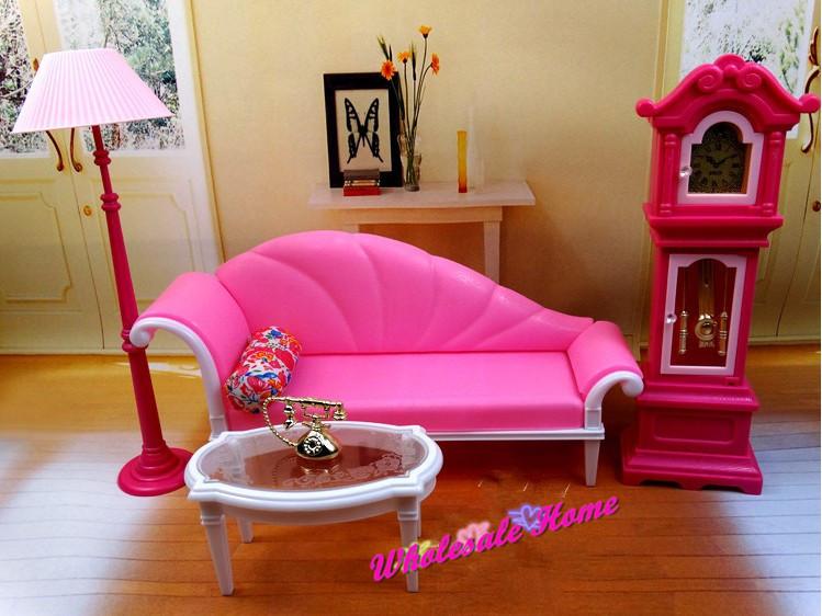 Pink Couch Flooring Lamp Clock Set / Dollhouse Dwelling Room Furnishings Equipment Tee Desk For Barbie Kurhn Ken Doll Ladies Present