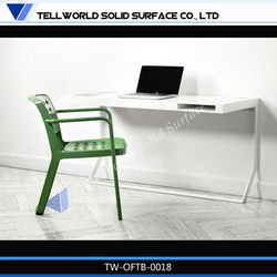Newest office desk, metal legs artificial stone marble top office desks