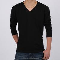 Trade Assurance V-neck Blank Good Quality Ring Spun Long Sleeve Cotton T Shirt In Bulk