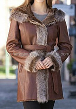 mid-long hooded shearling coat for women with belt