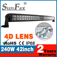 New design Double Row 42 inch 240W ATV 4D C REE LED Curved Light Bar Combo Work Offroad Driving lights 4WD UTE