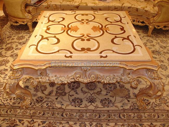 Luxus viktorianischen wohnzimmer holz couchtisch antik for Holztisch mit marmorplatte