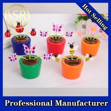 hot sale plastic solar flower pot with butterfly promotion
