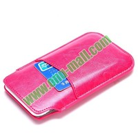 15x8.5 cm with Card Slot Pull Tab Sleeve Pouch Soft Leather Universal Phone Case for iPhone 6 Samsung Galaxy S4 S3 etc