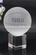 High Quality K9 Crystal Ball /Crystal Basketball with Base for Table Decoration