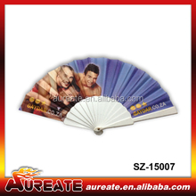 cheap advertising hand fan with custom heat transfer printed logo