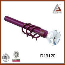 steel curtain rod for European market with high class crystals/glass curtain end cap/curtain spring rod