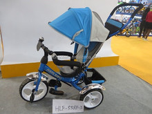 Fashionable baby tricycle with canopy and the push bar,best quality kid bicycle