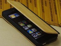 Bamboo flip mobile case for iPhone 5,genuine leather wood for iphone 6 case