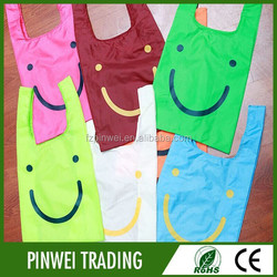 cheap foldable pouch nylon shopping bag, custom folding nylon tote bag