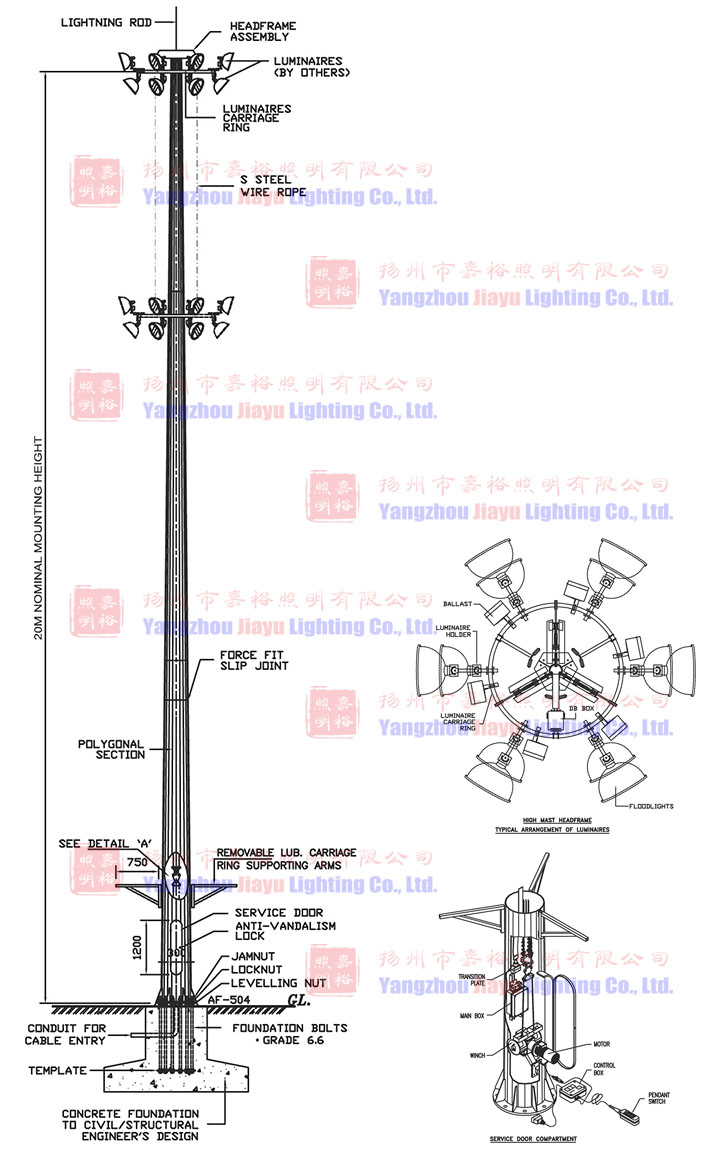 Vehicle Mounted Heavy Duty Telescopic Lift System High Mast In Hps Lamp Sourc
