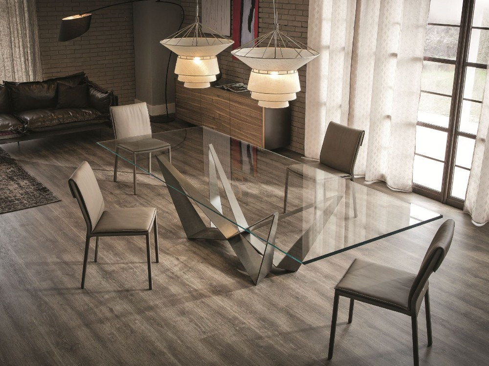 W forma de metal perna da mesa de madeira e cadeira vidro for Pied de table original
