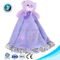 Wholesale promotional cheap animal head plush baby blanket fashion cute soft plush lavender bear blanket baby